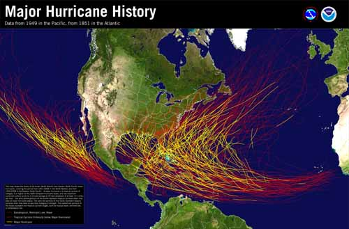 Hurricane Paths 1858 to 2008