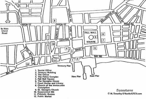 St. Kitts Basseterre Street Map - Basseterre Walking Tour and Map