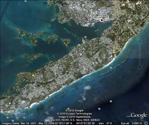 Bermuda Satellite Map South Shore Beaches