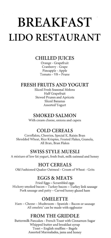 Holland America Lido Breakfast Menu