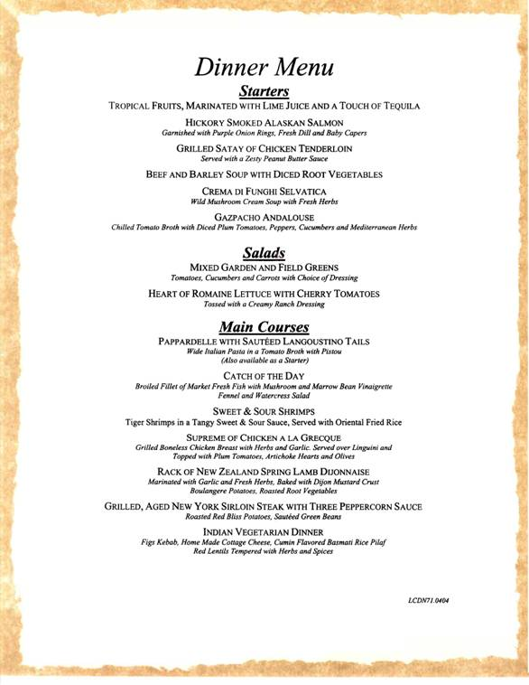 carnival sample dinner menu 1