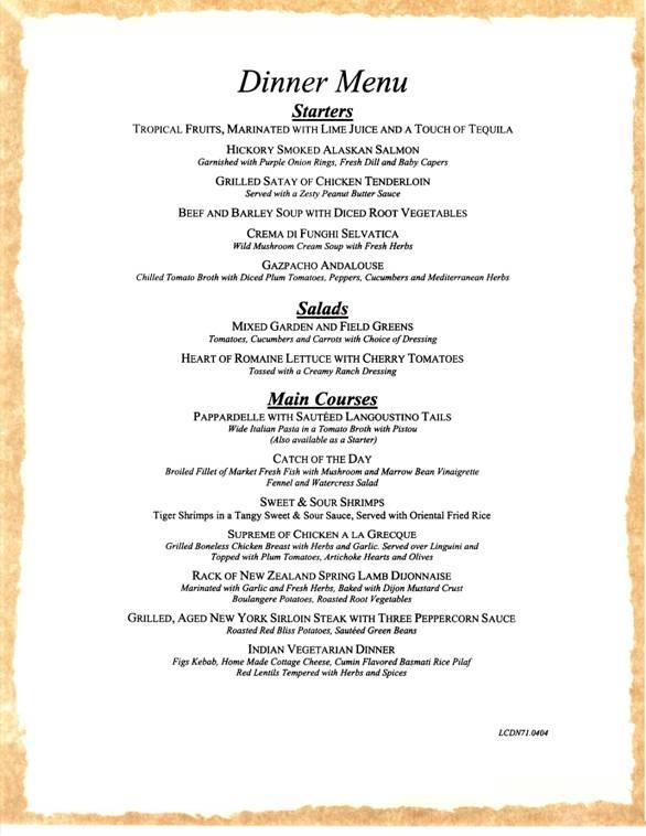 carnival cruises dinner menu 1 carnival cruise ship dining menus