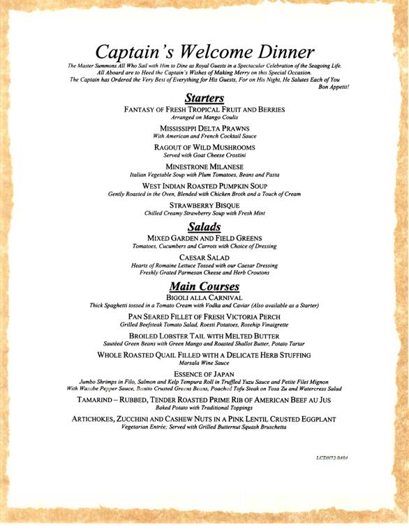 Carnival Cruises Captain39s Welcome Dinner Menu  Carnival
