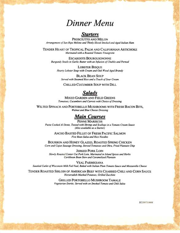 Carnival Cruises Sample Dinner Menu 2  Carnival Cruise