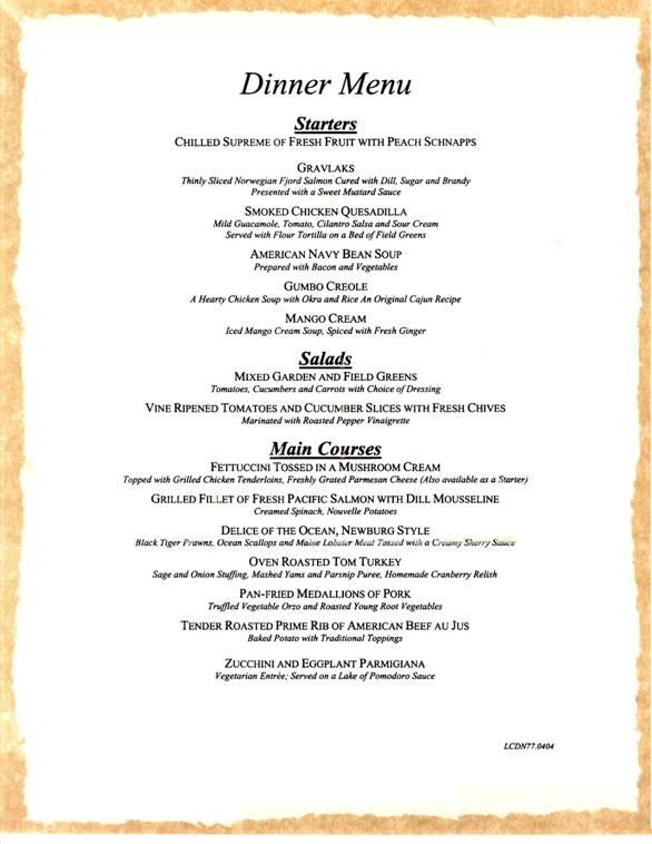 carnival cruises dinner menu 5 carnival cruises dining menus