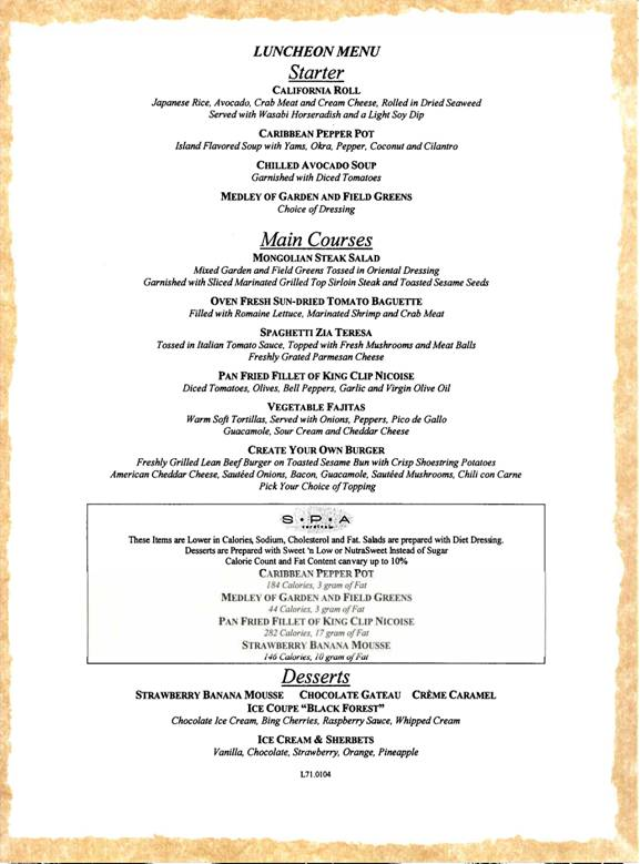 Carnival Cruises Lunch Menu 1  Carnival Cruises Dining Menus
