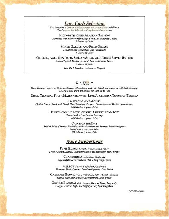 carnival dinner menu sample 1