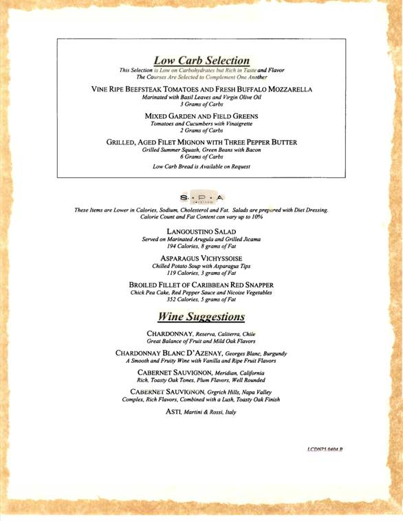 carnivl cruises sample dinner menu 4