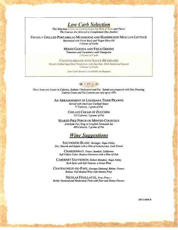 carnival cruises sample gala dinner menu