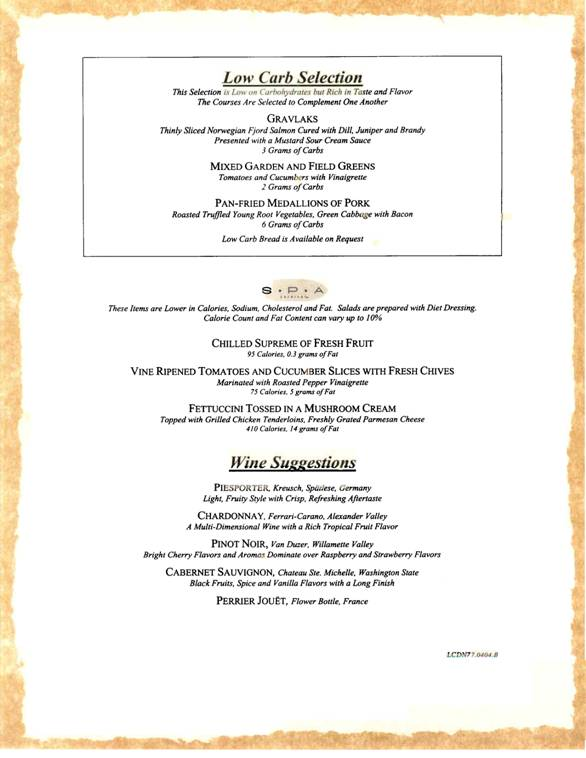 carnival cruises sample dinner menu 5