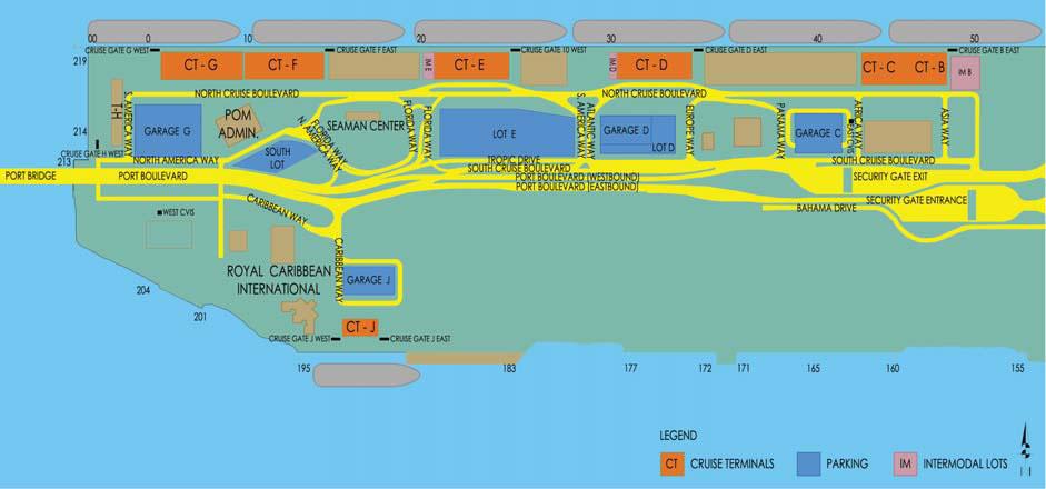 miami cruise terminal map Port Of Miami Map Map Of Cruise Port Of Miami miami cruise terminal map