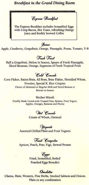 Oceania Cruises Breakfast Menu 1`