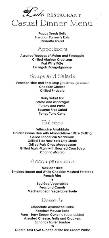 Holland America Lido Dinner Menu