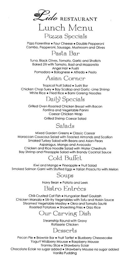 Holland America Lido Restaurant Lunch Menu