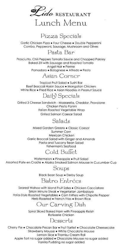 Holland America Lunch Menu